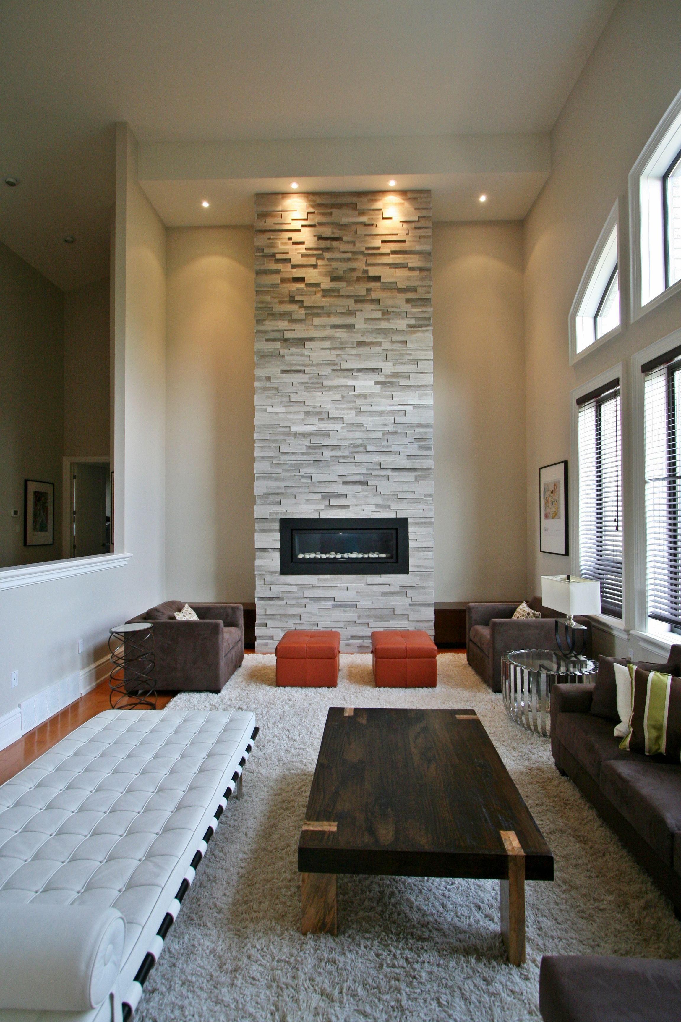 High ceiling fireplace with ErthCOVERINGS Silver Fox Strips by ...
