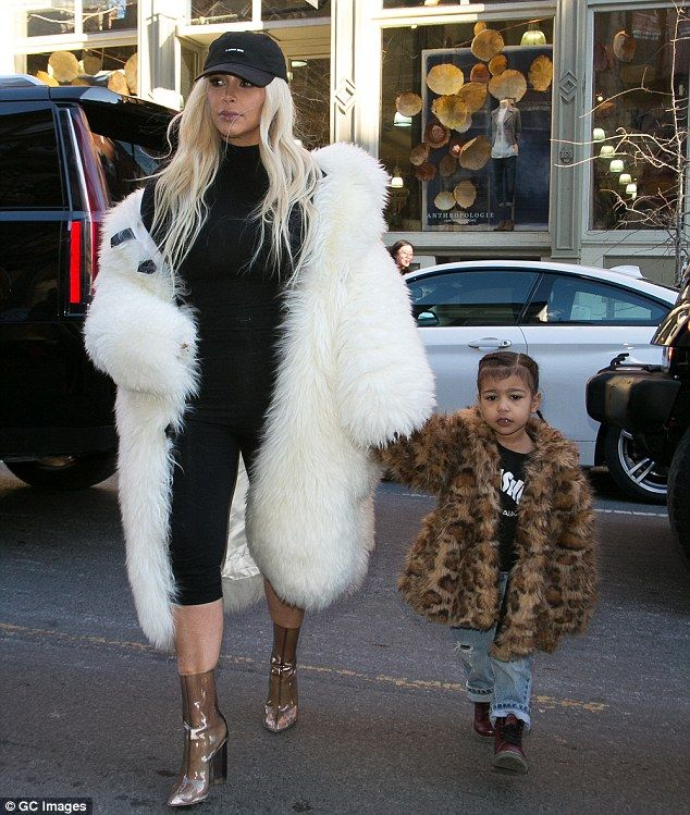 4a5755d7f0d041 North West and Kim Kardashian wear fur coats during Valentine s Day ...