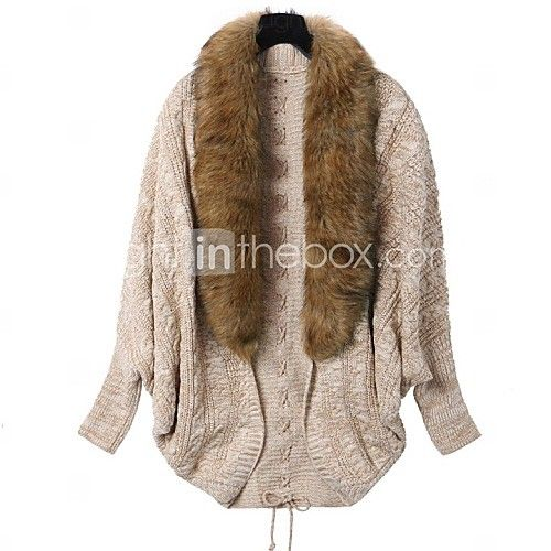 Women's Batwing Cardigan with Faux Fur Collar - USD $ 30.24