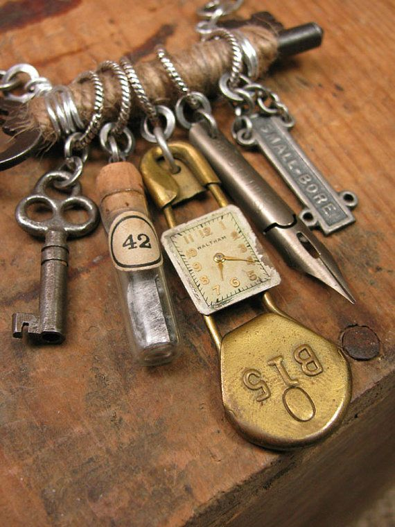 Upcycled Jewelry ~ Jute Wrapped Skeleton Key with by thekeyofa