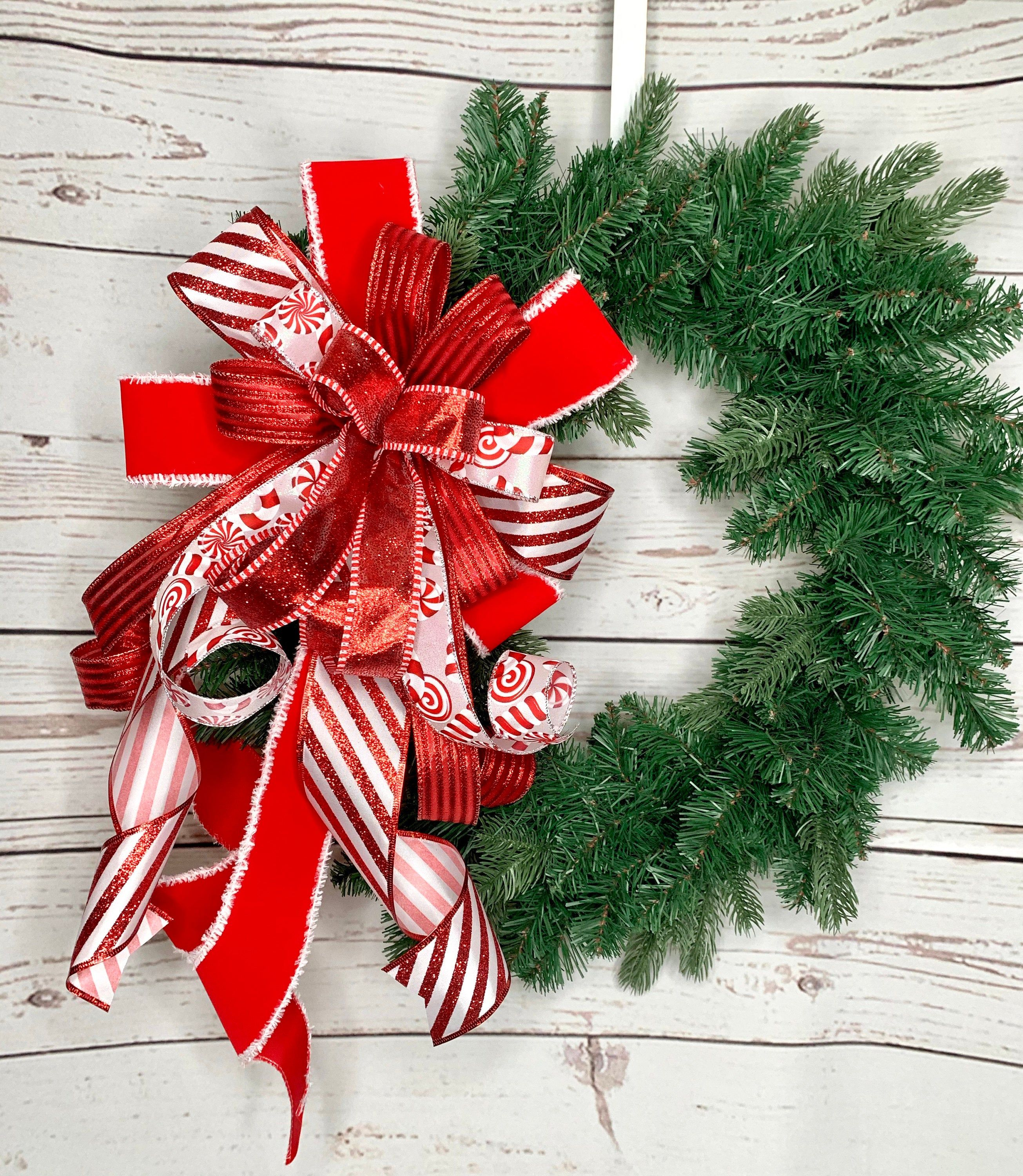 Red White Merry Christmas Wreath Bow Tree Topper, Candy