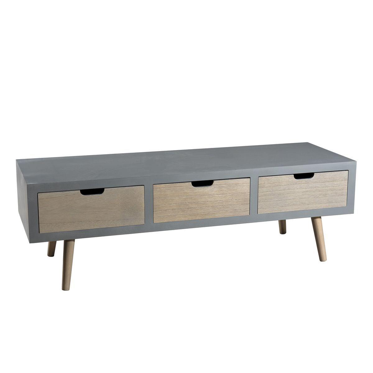 Meuble Tv 120cm Bois Pin Gris Effet Beton 3 Tiroirs Style