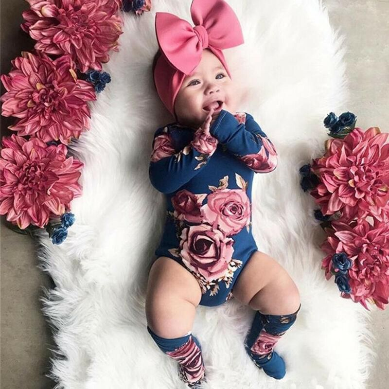 0-24M Newborn Baby Girl 2019 New Autumn Long Sleeve Romper Large Floral Jumpsuit Warm Leg Socks Outfit