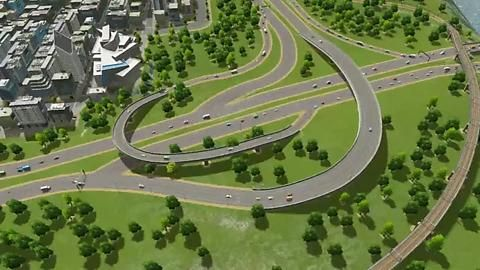 This Interchange Was Modified To Better Hand Heavier Traffic City Layout Minecraft City City Skyline