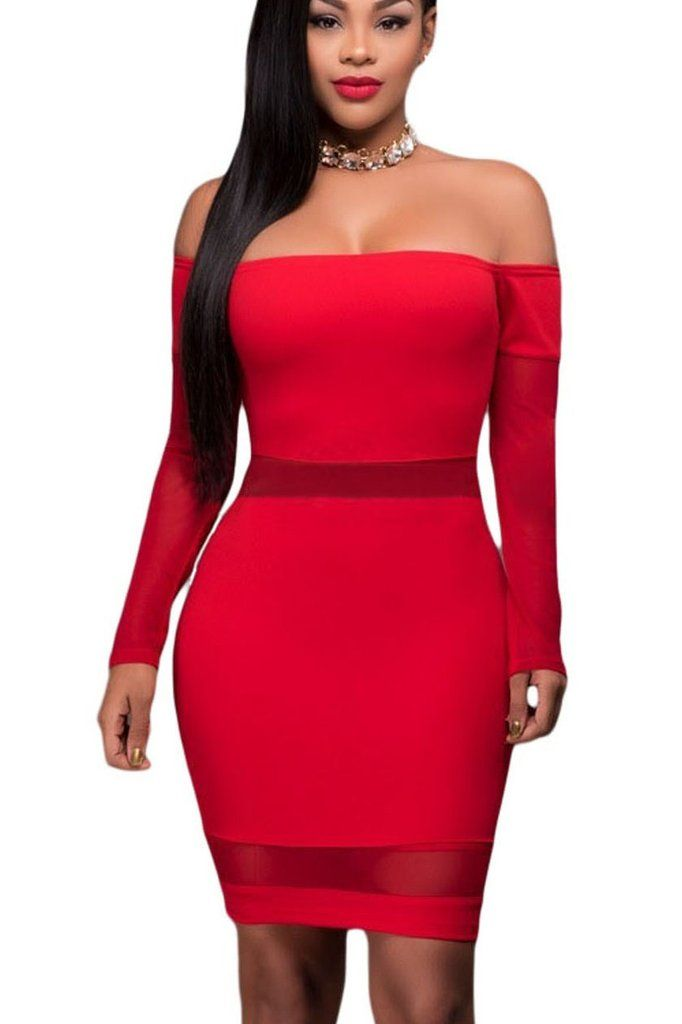 Robes Moulante Rouge Maille Inserer Longue Manches Epaules Denudees