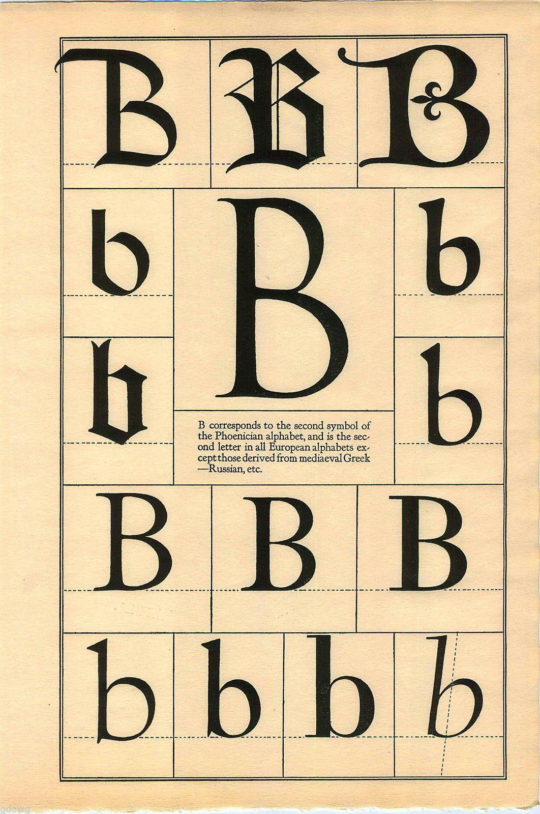 1922 Book Print Letter B Greek Roman Alphabet Design Typography