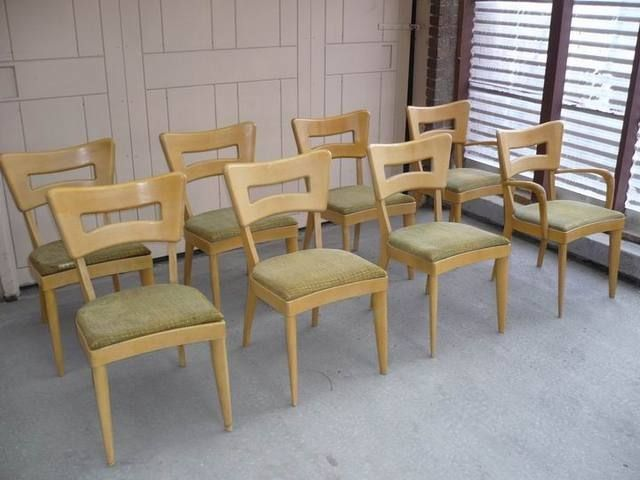 8 heywood-wakefield dogbone chairs (2 captain + 6 side chairs) for, Esstisch ideennn