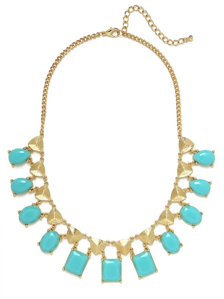 """Bauble Bar // This striking necklace works both a glamorous and totally jet-set vibe. There's something delightfully Mediterranean about it too, with that double dose of ocean-blue gems and glistening gold """"studs."""""""