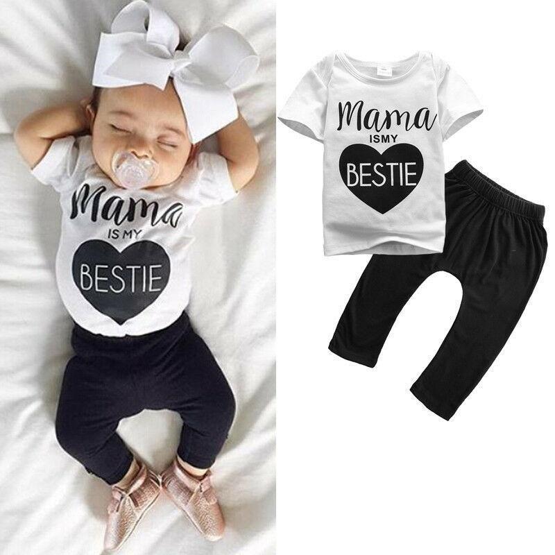 0-24M Newborn Infant Kids Baby Girls Cute T-shirt + Long Pant Outfit Clothes Set