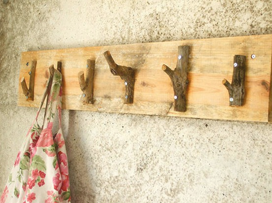 Use branch trimmings to create a set of hooks. via Upcycle Us ...