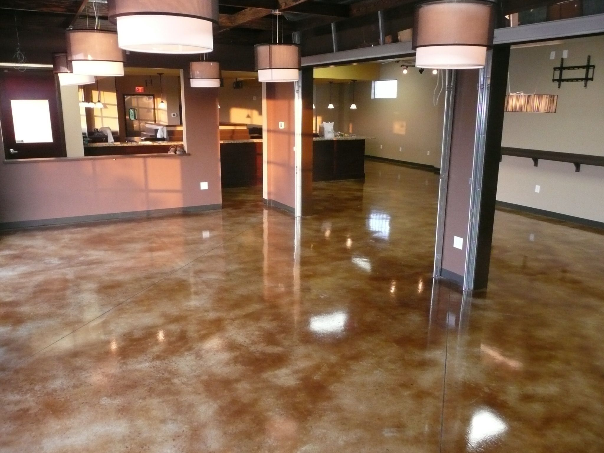 Concrete Floors Stained With Acetone Dye Dyed Concrete