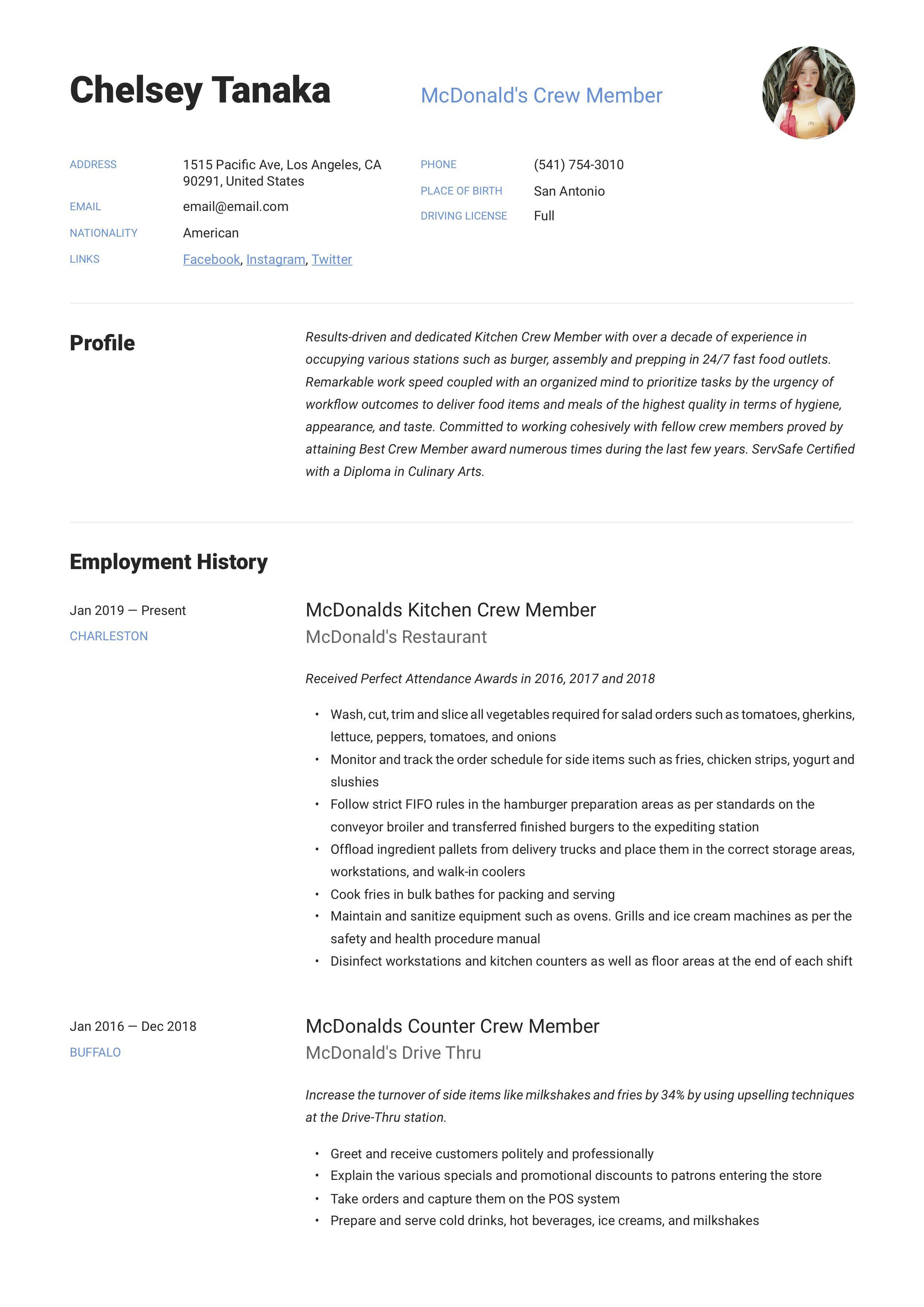 Mcdonalds crew member resume writing guide in 2020