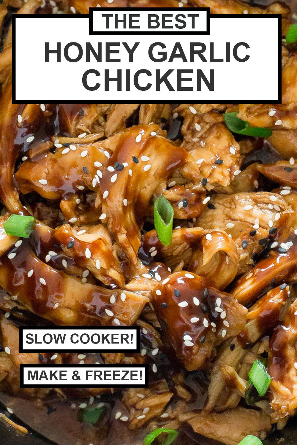 Easy Slow Cooker Honey Garlic Chicken. Slow cooked boneless chicken cooked in a sweet and tangy Asian inspired sauce. The chicken comes out tender and moist by cooking it low and slow in the crockpot. Make this a meal with broccoli & veggies! I love serving this with cauliflower rice to soak up all the sauce for a healthy low carb dinner! Make ahead and store in the freezer! | chefsavvy.com #recipe #slowcooker #crockpot #freezermeal #honey #chicken #garlicchicken