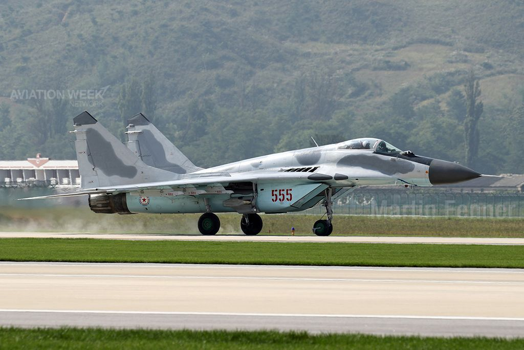 North Korea's premier fighter is the Mikoyan MiG-29 Fulcrum, a type tasked with the air defense of the country. These are the most common aircraft type in pictures released by the North Korean government of exercises. While most reports suggest that the air force took delivery of 40 MiG-29s, other analysts say it could be half that number. Photo:  Martin Fenner