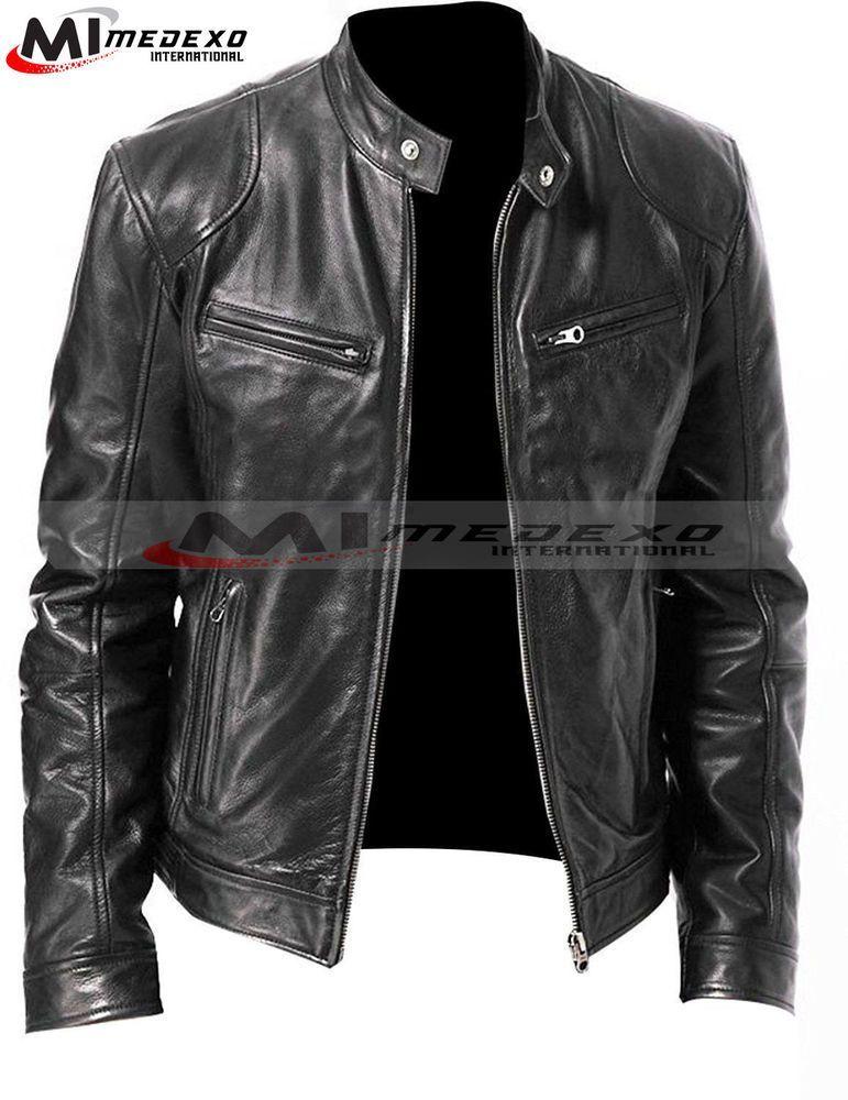Ebay Link Vintage Cafe Racer Men S Black Retro Motorcycle Real Biker Real Leather Jackets Fa Chaqueta De Cuero Hombre Moda Ropa Hombre Estilo De Ropa Hombre