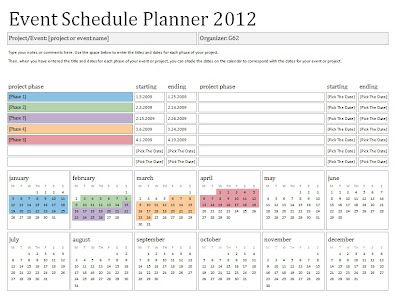 2012 Event Schedule Planner ~ Template Sample Perfectly Printable