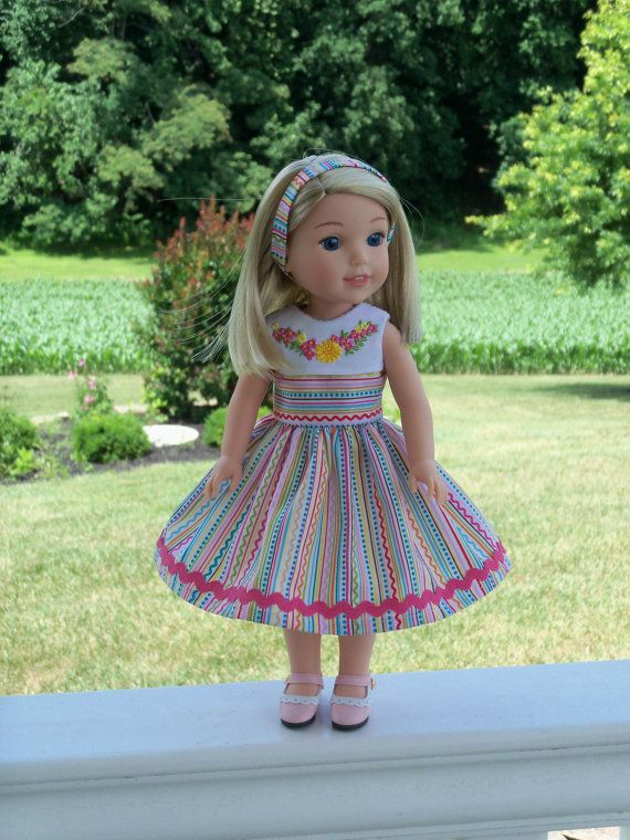 Wellie Wisher Embroidered Summer Dress and Headband/ Clothes for ...