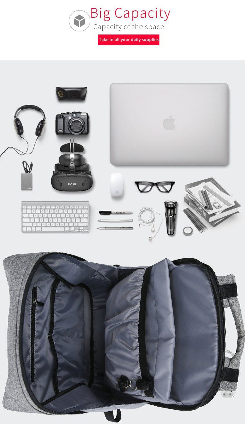 e4b748dcf Fit Pack Pro with USB Charger Grey Backpacks, Travel Backpack, Best Laptop  Backpack,