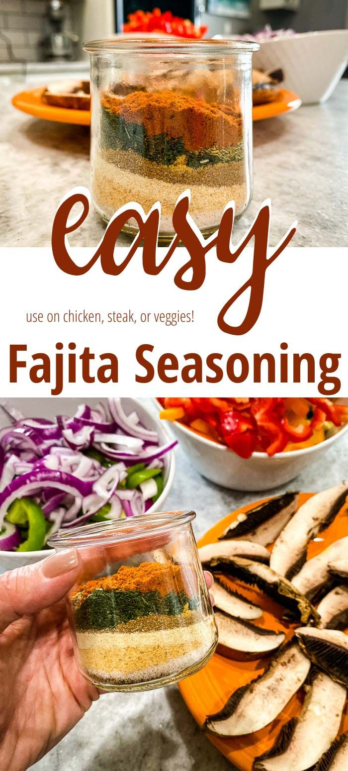 This easy veggie fajita seasoning will become a staple in your spice cabinet! You can add extra spice or skip it, but either way this flavorful homemade seasoning adds a delicious flavor to any fajitas–veggie, chicken, or beef! #homemadefajitaseasoning