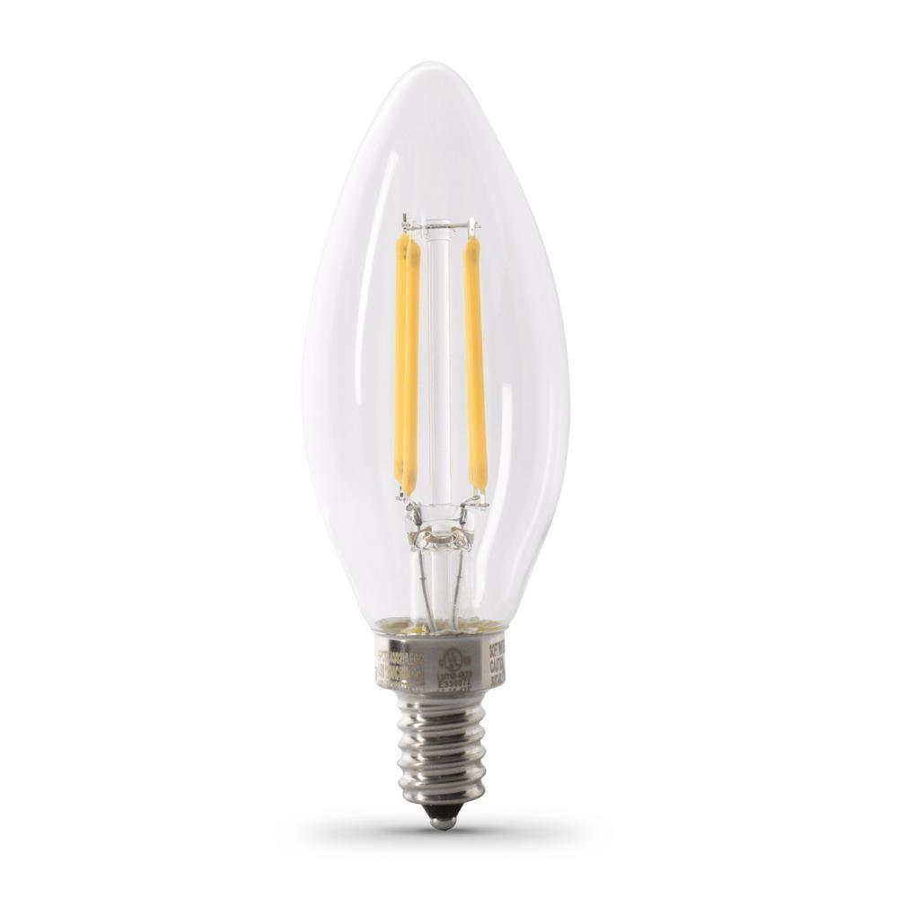 Feit Electric 100 Watt Equivalent B10 Candelabra Dimmable Filament Clear Glass Chandelier Led Light Bulb In Daylight 48 Pack Light Bulb Light Bulb Bases Glass Chandelier
