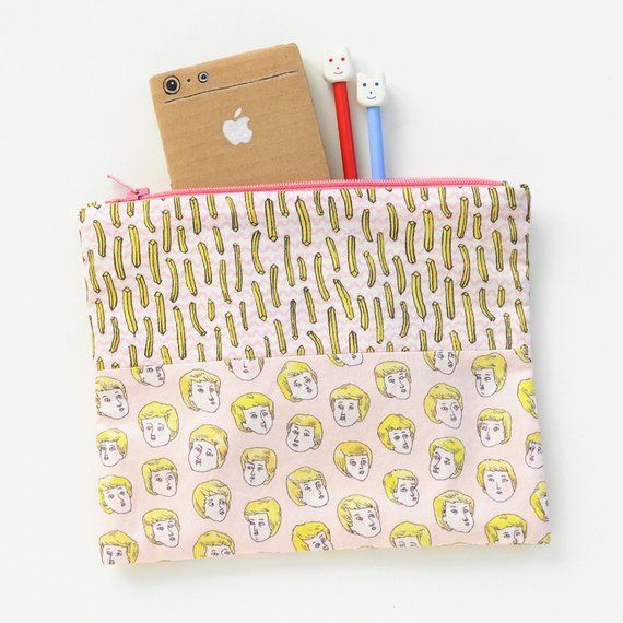 Blond Boys Love French Fries Pink Zipper Pouch