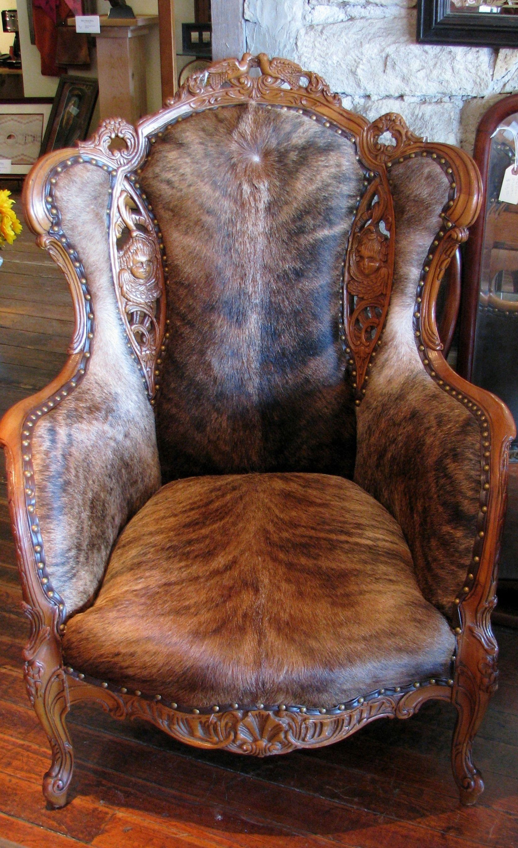 Amazing Hair On Hide Wing Back Chair Brindle Cow Hide Cowhide Machost Co Dining Chair Design Ideas Machostcouk