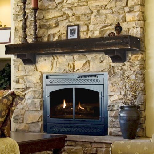 The Shenandoah 60 Mantel Shelf with Corbels Espresso Finish