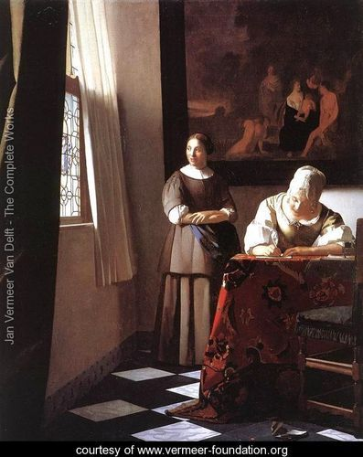 Lady Writing a Letter with Her Maid c. 1670 - Jan Vermeer Van Delft - www.vermeer-foundation.org