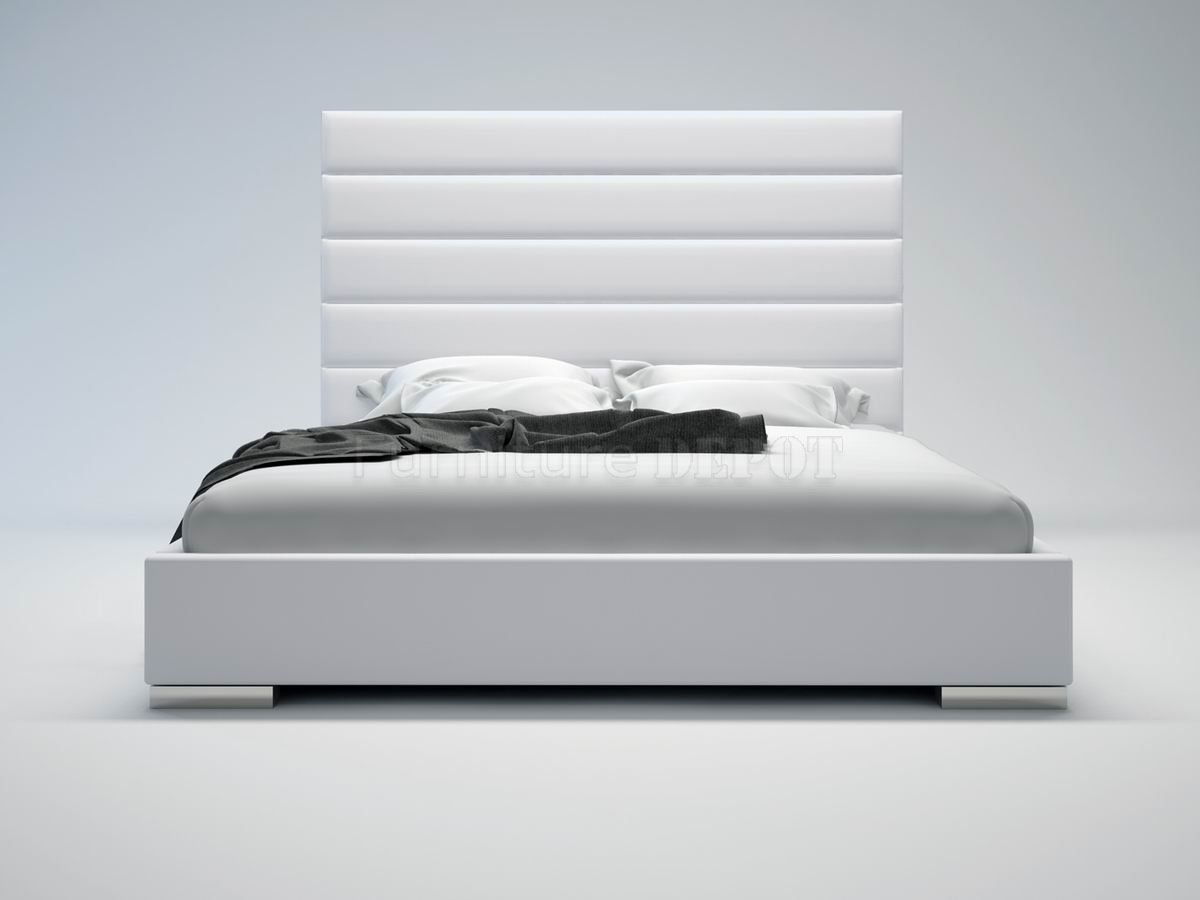 Bed headboard leather - Prince White Bed By Modloft With Oversized Leather Headboard