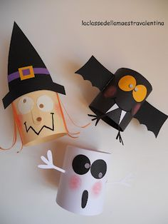 halloween decoration craft make bats and ghosts out of toilet paper rolls the tutorial is in spanish but they look easy great for kids