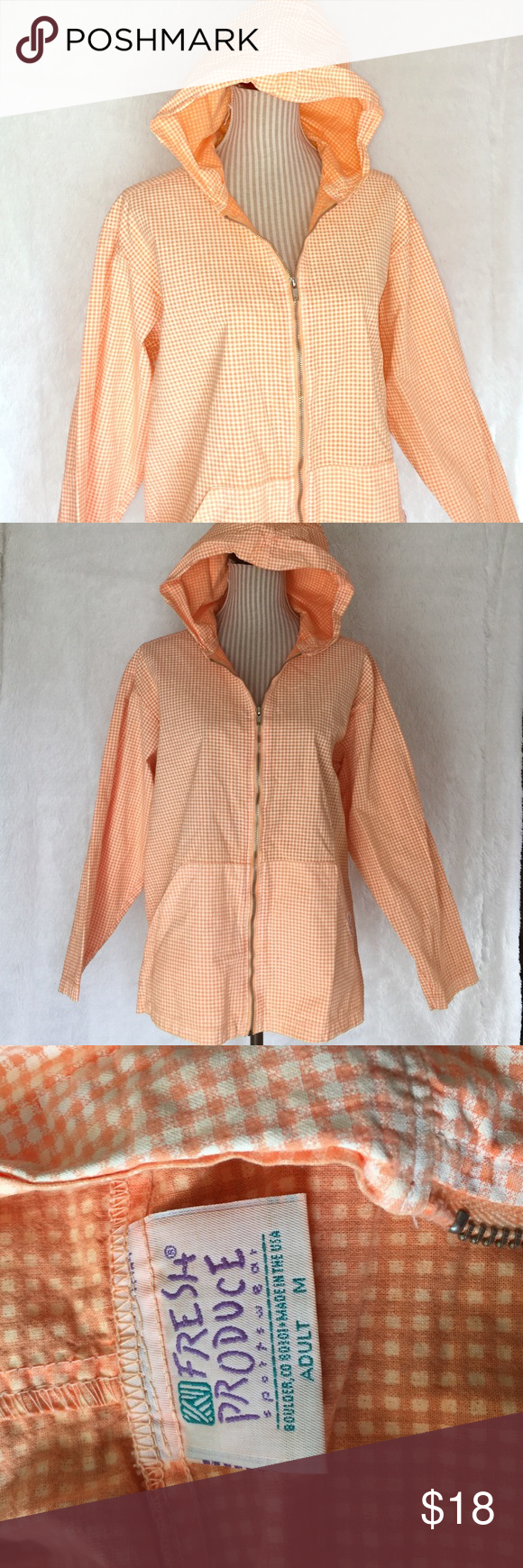 "🆕Orange Gingham Light Jacket Light and sunny!! Perfect for days when you just need a little something more. Says size medium but more of a L or XL. Bust about 47"" and length about 26"" and 2"" side slits on bottom sides to lay comfortably. Fresh Produce Jackets & Coats"
