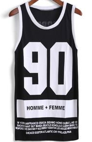 Black Contrast Trims 90 Print Grid Tank Top