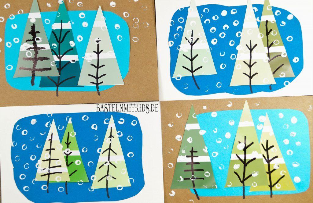 weihnachtskarten basteln mit tannenb umen bastelen. Black Bedroom Furniture Sets. Home Design Ideas