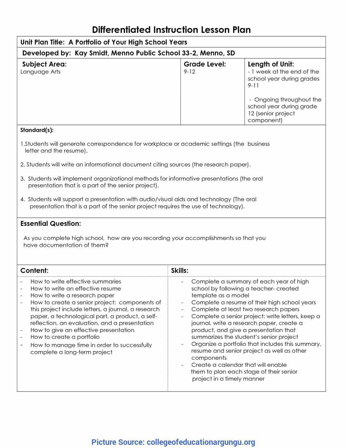 Differentiated Lesson Plan Template Luxury Excellent Differentiated Instruction Le Lesson Plan Templates Differentiated Instruction Differentiated Lesson Plans