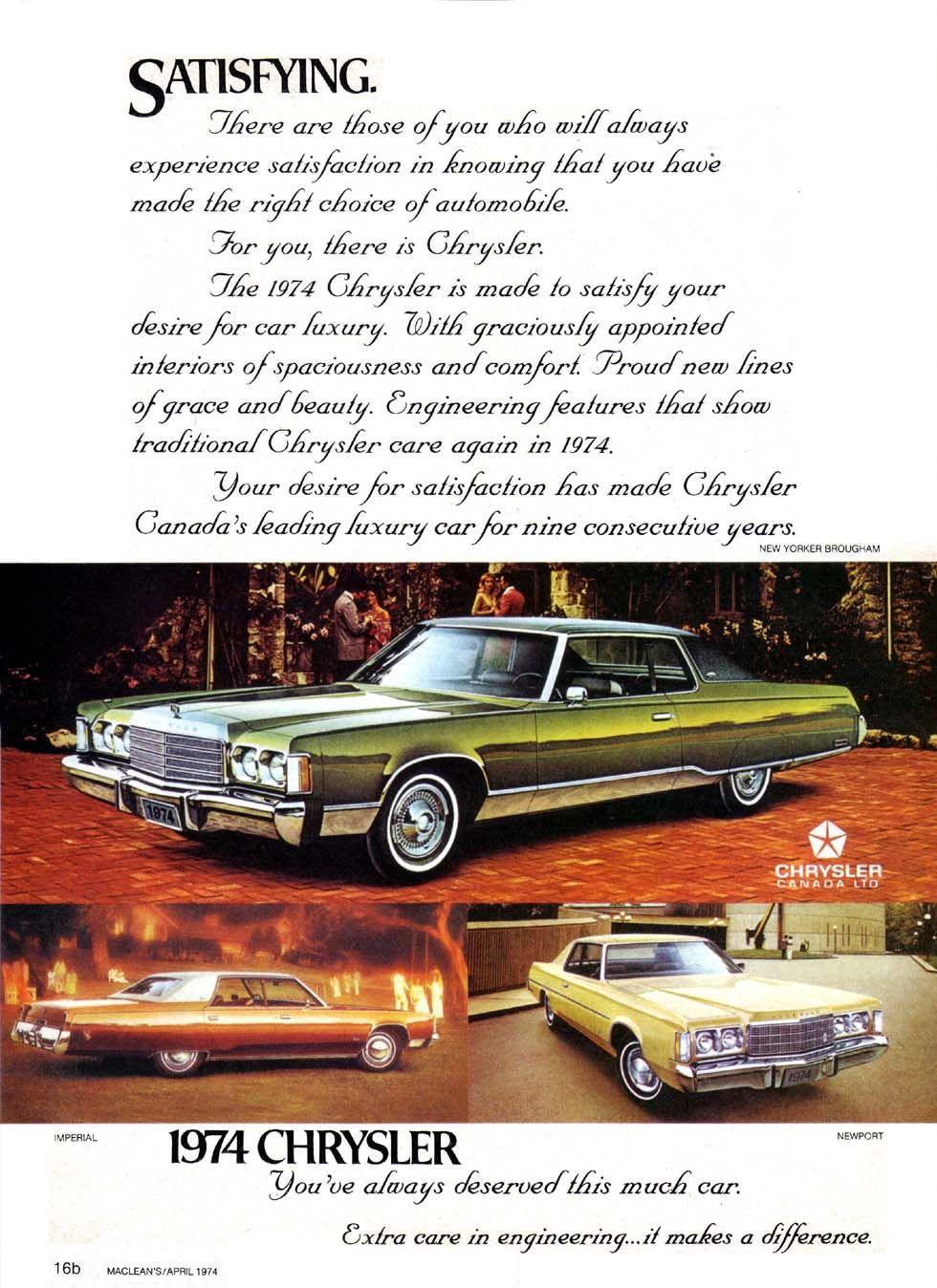 1974 chrysler new york brougham imperial newport luxury ad