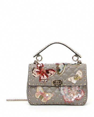 125c7c3d7c IT MEDIUM ROCKSTUD SHOULDER BAG WITH SEQUINED BUTTERFLIES. #valentino #bags