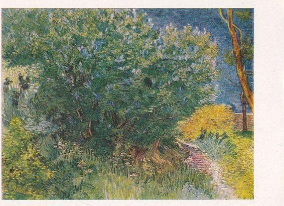 Vintage Vincent Van Gogh Lilac Bush Postcard By Russiansoulvintage Vincent Van Gogh Van Gogh Lilac Bushes