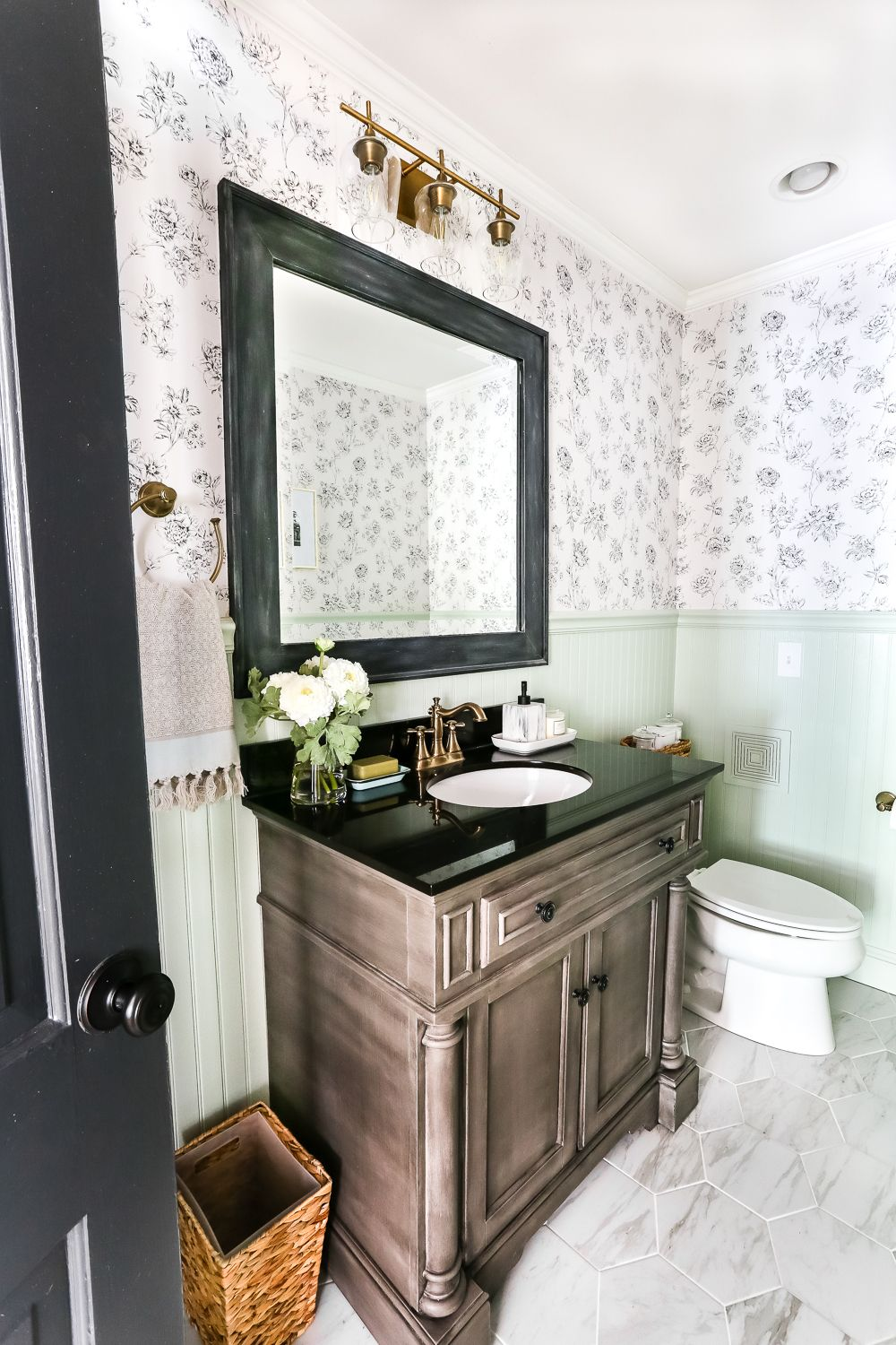Aqua Meets Urban Powder Room Reveal Modern powder rooms