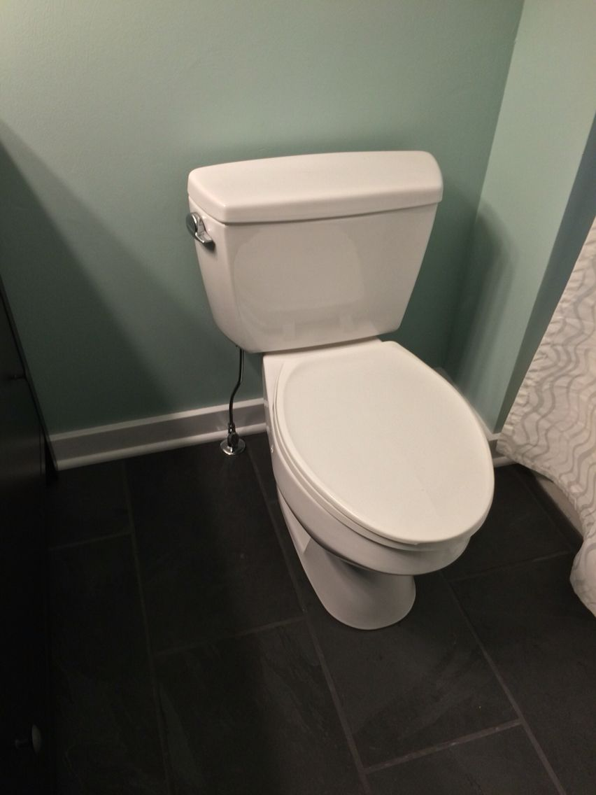 Olympic One Paint In Sea Sprite Montauk Black Slate Tiles From Home Depot And A Toilet By Toto