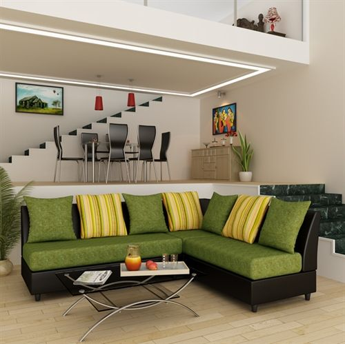 Chicago Fabric L Shape Sofa Set Green The Color Of Green And The