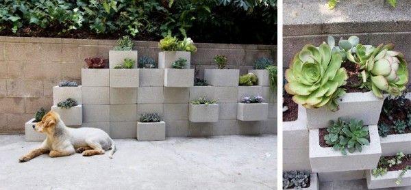 20 diy d co avec des parpaings pot de fleur exterieur Jardinieres exterieures