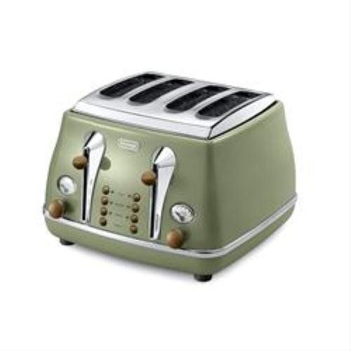 Delonghi Vintage Icona CTOV4003.GR Olivia 4 Slice Toaster - Olive Green: Amazon.co.uk: Kitchen & Home
