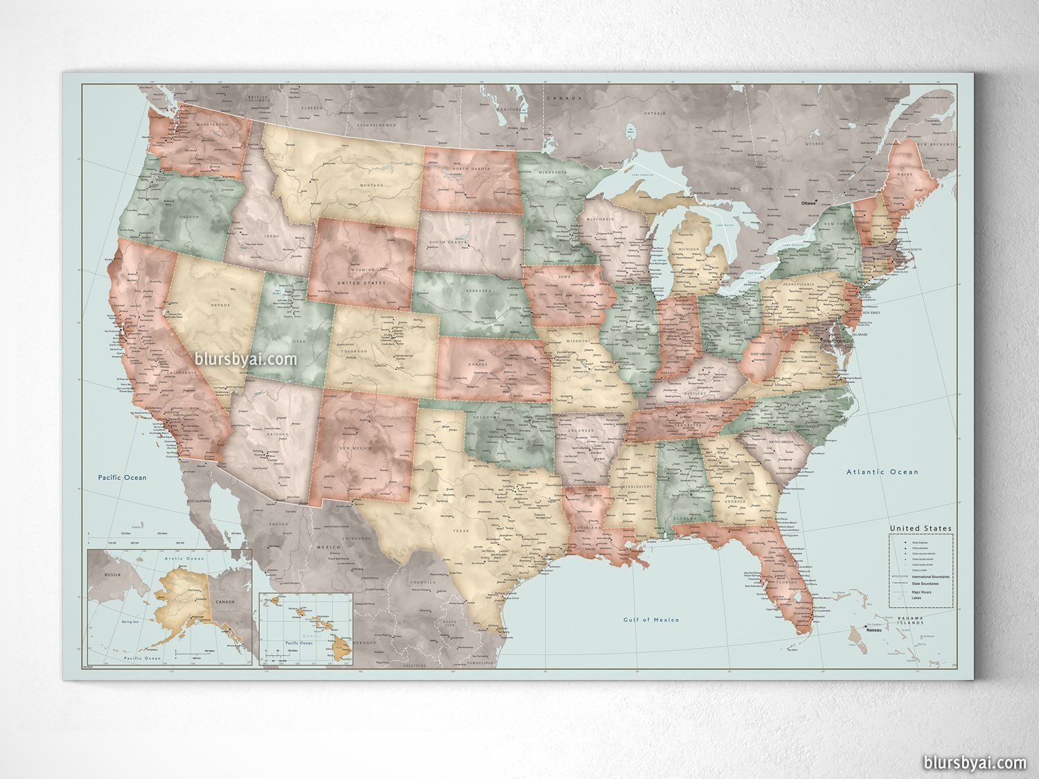 Personalized Usa Map.Personalized Vintage Inspired Watercolor Usa Map With Cities Canvas