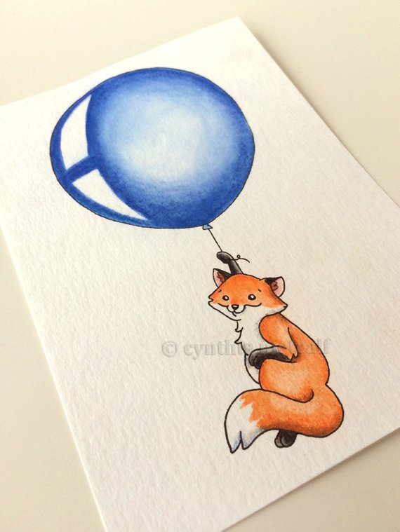 Balloon Nursery Art Original Drawing Baby Fox Balloon Fox