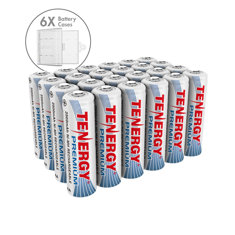 Combo 24 Pcs Tenergy Premium Aa 2500mah Nimh Rechargeable Batteries 6 Aa Size Holders Nimh Rechargeable Batteries Recharge