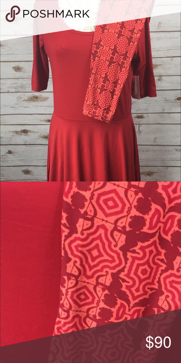 LuLaRoe Nicole XL red A-line dress with Tall and Curvy cupid Leggings. Offers through offer button only! LuLaRoe Dresses Asymmetrical