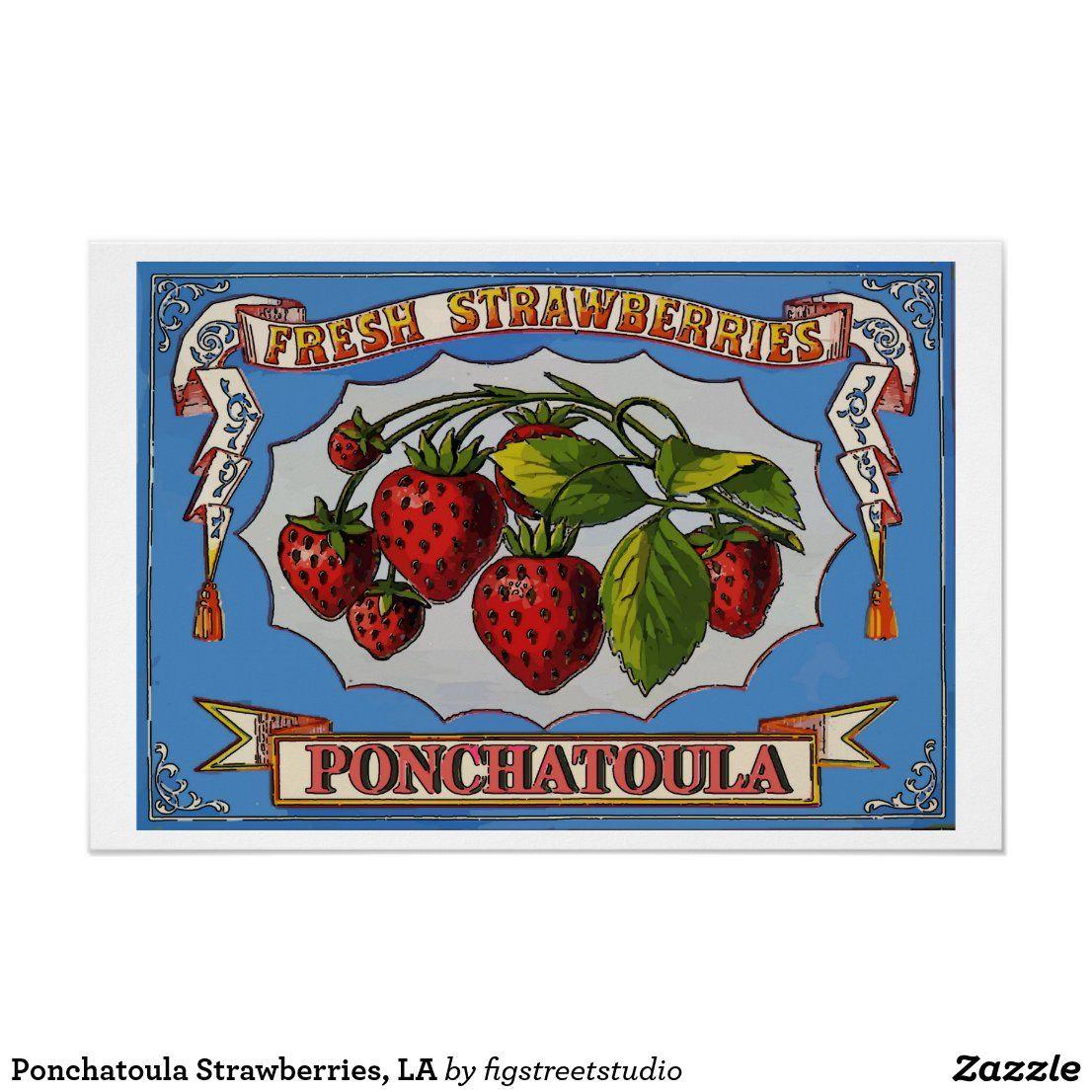 Ponchatoula Strawberries La Poster Zazzle Com In 2020 La Poster Poster Postcard