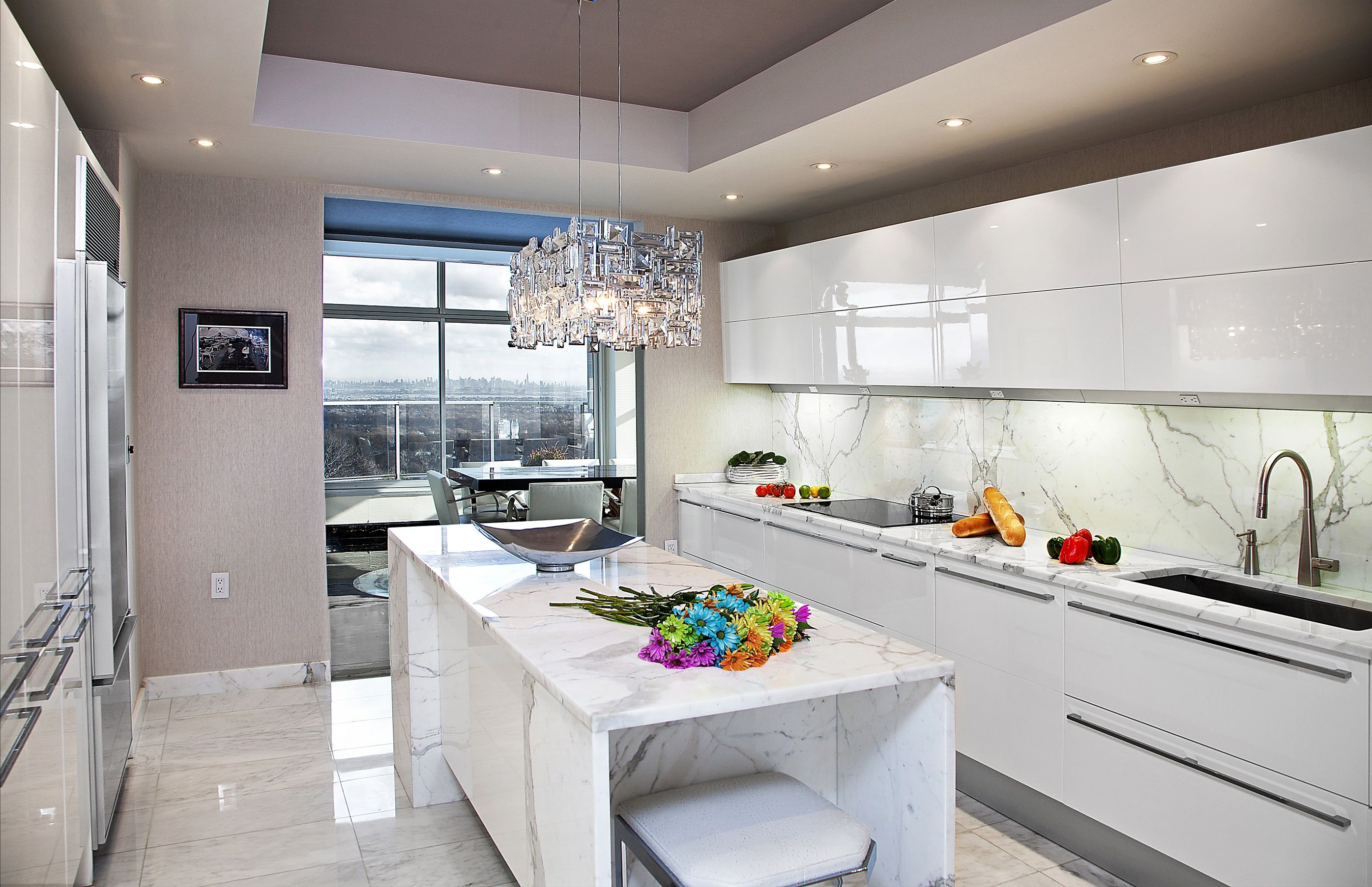 NYC view, from this NJ kitchen, designed by Kuche+Cucina. Pedini ...