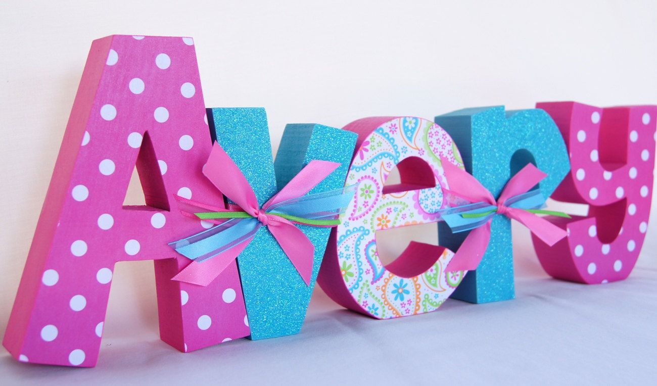 Custom wood letters name letters for baby shower by for Baby name decoration ideas