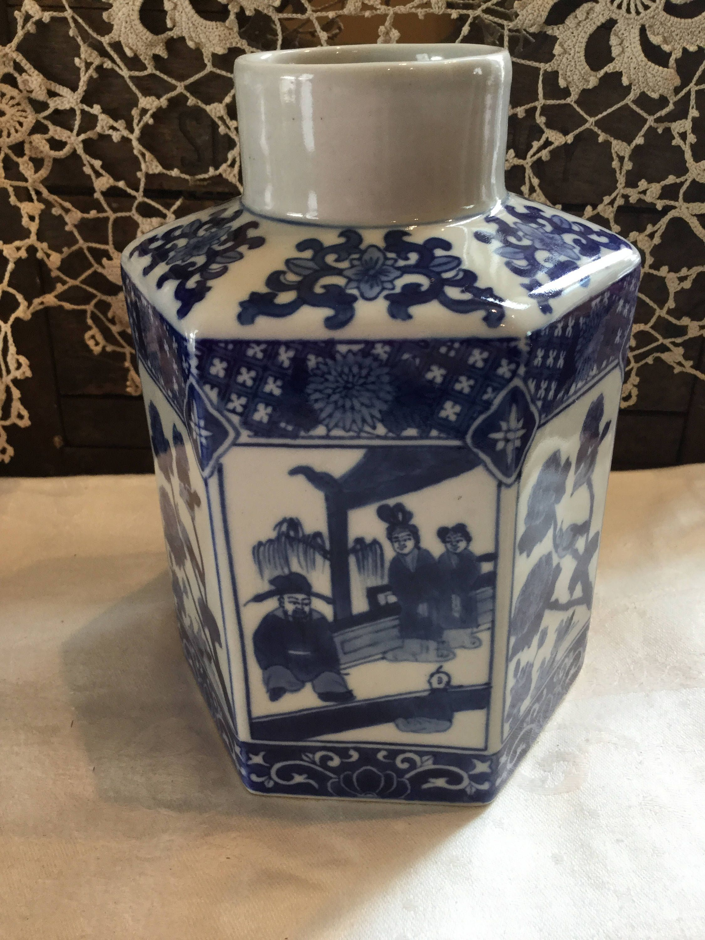 Vintage Chinese Signed Chinoiserie Blue And White Canton Hexagonal Ginger